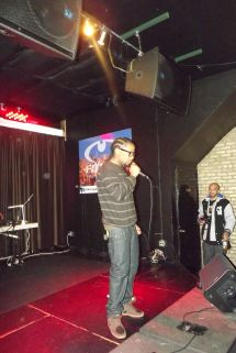 Derty Harry interacts with the audience at The Chi City Record Pool Showcase
