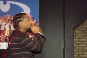 Derty Harry working the stage at The Chi City Record Pool Showcase
