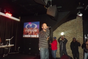 Derty Harry shows the audience his range at The Chi City Record Pool Showcase